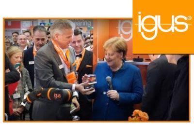 igus® – Angela Merkel zu Besuch bei igus auf der Hannovermesse – HMI 2019